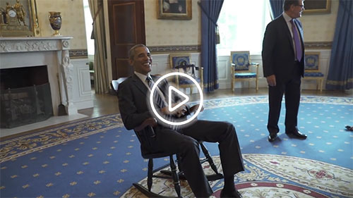 President Obama receives his chair